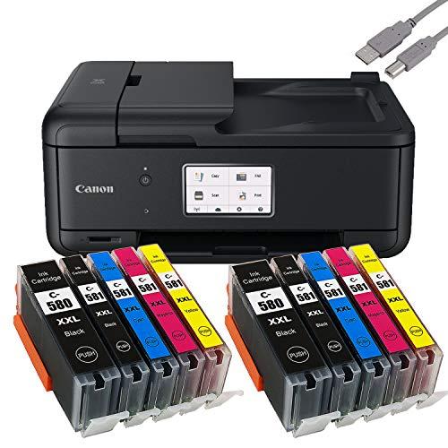 Canon PIXMA TR8550 Tintenstrahldrucker Multifunktionsgerät schwarz (Drucker, Scanner, Kopierer, Fax) + USB Kabel & 10 komp. YouPrint Druckerpatronen