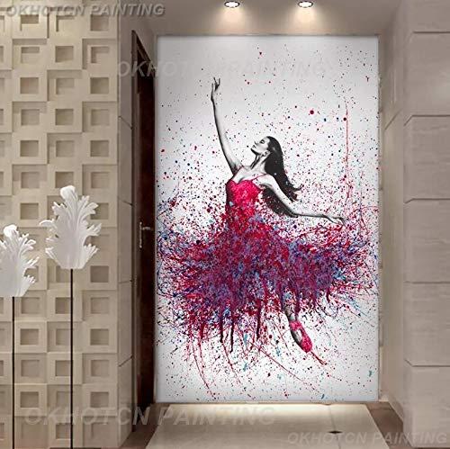 ganlanshu Rahmenlose Malerei Elegante tanzende Ballerina abstrakte Ölgemälde Ballerina Mädchen WandkunstZGQ5463 60X80cm