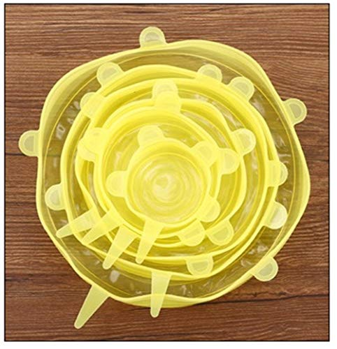 HDMJ 6 tapas universales de silicona con ventosa, tapa de silicona, tapa elástica de silicona, tapa para refrigerador, conservación de alimentos (color: 6 unidades)