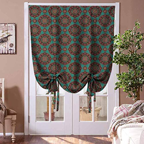 Curtain Panel Oriental Window Blind Fabric Curtain Drapery Pattern with Floral Motifs Traditional Colorful Ornament for French Doors Multicolor Rod Pocket Panel, 36' W x 72' L