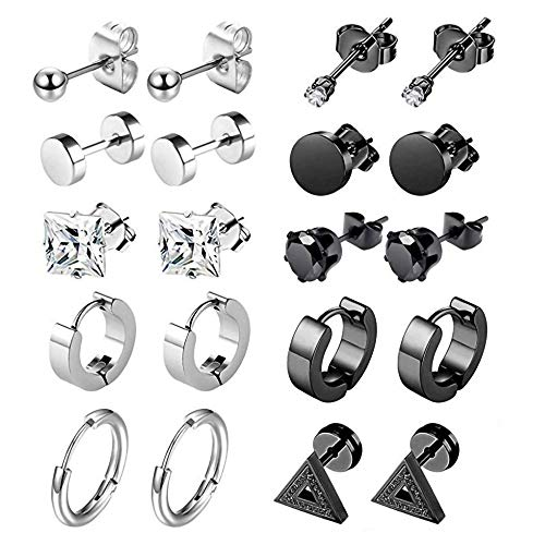 HosDen 10 pares de pendientes negros de acero inoxidable Circón circular triángulo acero Stud redondo aro perforado pendientes para hombres mujeres