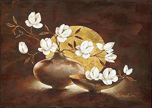 Keilrahmen-Bild - Claudia Ancilotti: Golden Sunset Leinwandbild Stillleben modern floral braun (70x100)