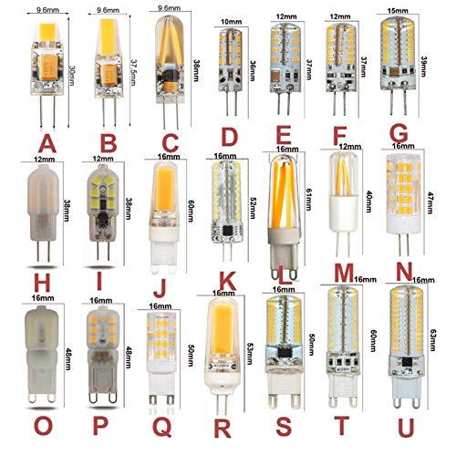 NINGXUE-MAOY Luz de maíz 1 0PCS G4 G9 LED Bulbo AC DC12 110 220 Lámpara de maíz LED Blanca Blanca cálida Regulable 3W 5W 6W 7W 9W Reemplazar para la Bombilla halógena Bulbos DIRIGIÓ