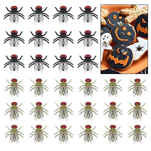 Aipaide Insectos Falsos 100pcs Moscas de Plástico Realistas Juguete de Insectos de Broma para Decoración de Halloween (Negro y Verde)
