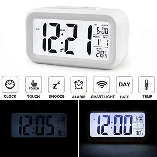 Audew Sveglia Digitale Alarm Clock LED Calendario LCD Sensibile Luce Orologio Snooze Bianco