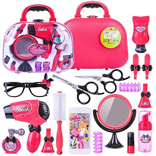 LoKauf 18St. Friseur Spielzeug Friseursalon Set mit Haartrockner Friseurkoffer Kosmetik Make Up Set Rollenspiel für Mädchen Kinder Prinzessin