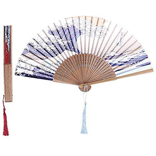 Dcor de Boda Seda Mano Ventilador Montaje Fuji Kanagawa Olas Olas Japons Plegable Ventilador Bolsillo Accesorios de Boda Decoracin Regalo Evento Suministros Accesorios Nupciales (Color: A)-B B