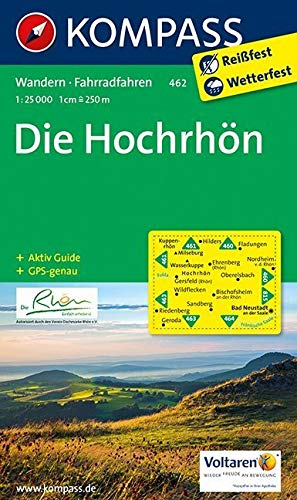 Die Hochrhön: Wanderkarte mit Aktiv Guide und Radwegen. GPS-genau. 1:25000: Wandelkaart 1:25 000 (KOMPASS-Wanderkarten, Band 462)