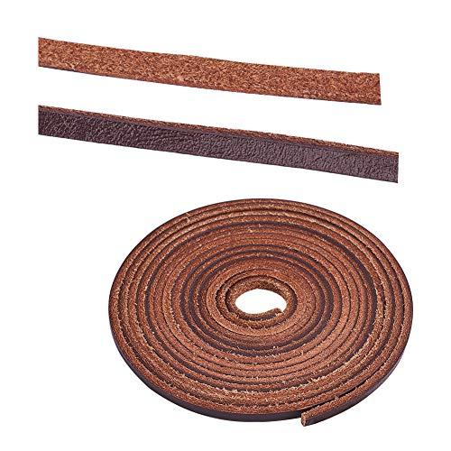PandaHall Elite 1 hebra de 3 mm, cordón de cuero plano trenzado, tiras de cuero, 2,2 yardas, para fabricación de joyas, marrón claro