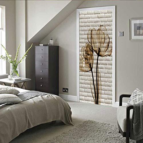 Gzltd Adhesivos para puertas Azulejos De La Pared 3D Papel pintado PVC Impermeable y a prueba de aceite,adecuado para decoración de puertas sala de estar,dormitorio,cocina y baño 77x200cm