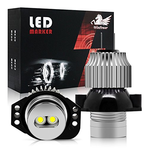 WinPower 12W LED Faros Angel Eyes para coche CREE CanBus No hay error Auto Bombillas Luces de posición Ojos de Angel 6000K Xenon Blanco E90/E91, 2 Piezas