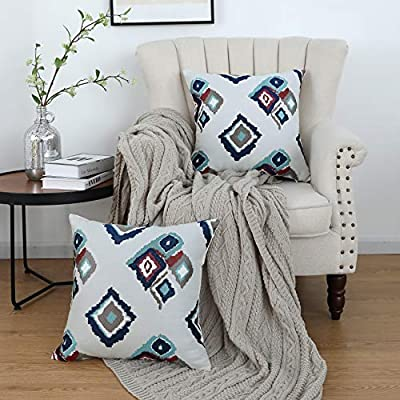 Oirpro Navy Pillow Covers Boho Modern Farmhouse Throw Pillow Covers with Embroidered Geometric Pattern Decorative for Indoor Outdoor 18x18 Inch Pack of 2