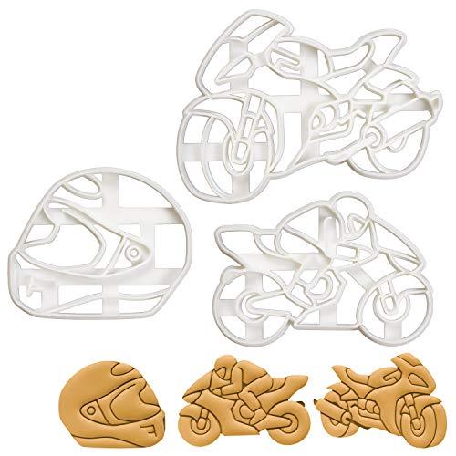 Bakerlogy Satz von 3 Motorrad Ausstechformen (Formen: Motorradhelm, Motorradfahrer, und Motorrad) 3 Tiel