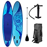 "SUP Board Stand up Paddling Surfboard""Candy Skull"" 320x76x15cm aufblasbar Alu-Paddel"