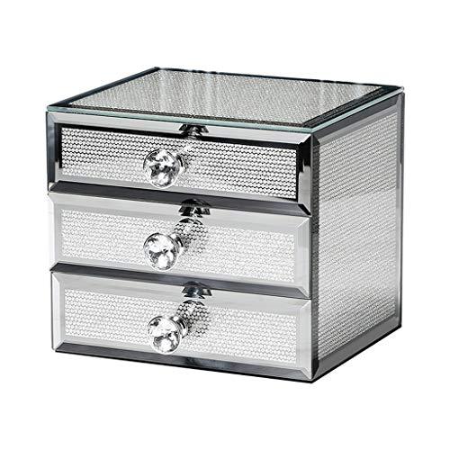 WXFF Caja de Joyería Caja de joyería for Las Mujeres, de Gama Alta joyería de Cristal con cajones Organizador, Reloj y Pendiente Organizador Etc Caja Joyero