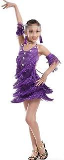 Beautiful Dance Skirt Costume Kids Clothing Girls Toddler Jazz Dance Clothes Rumba Chacha Latina Dance Costume Fashion (Color : Purple, Size : 170cm)