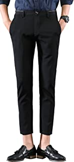 Men's Casual Stretch Flat Front Dress Pants Slim-Tapered Suit Pants