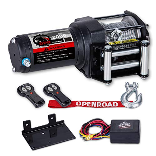 OPENROAD 2000lb/907kg ATV/UTV Winch with Cable,12v Electric Winch Single Line Portable Winch