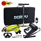 El tanque del buceo con escafandra Set, 1 litro de oxígeno portátil buceo Cilindro equipo del kit con 15-20 minutos respirar bajo el agua, Equipo de buceo respirador para nadar Snorkeling Rescate