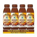 Garnier Fructis Hair Food Champú Macadamia Alisadora, indicado para Pelo Seco y Rebelde - Pack de 4 x 350 ml