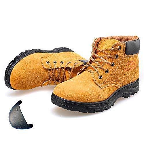 KAMELUN Leichte Sicherheits-Turn- mit Weit Fit Stahlkappe, Breathable Leder Sicherheitsschuhe Anti-Rutsch-Site-Arbeitsschuhe Stiefel für Reisen Wandern Außen,UK7/EU41