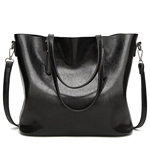 Coolives Damen Tote Shopper Tasche Schultertasche mit Schultergurt Umhängetasche Handtasche aus PU-Leder Schwarz EINWEG