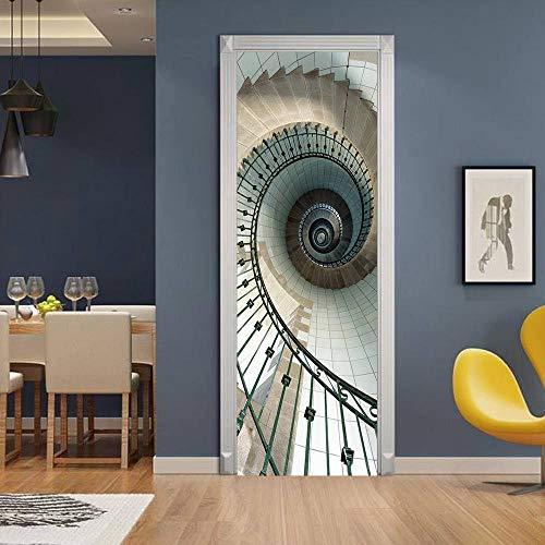 skwff Interieur Deur Baby Jongens Kids Meisjes Kinderen Toilet Vinyl Home Decoratie Art 3D Roterende Ladder PVC Woonkamer Keuken Badkamer Slaapkamer