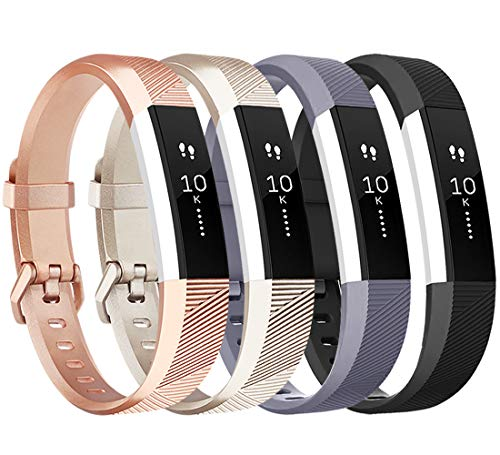 Tobfit für Fitbit Alta HR Armband, Verstellbare Ersatz Weich Sport Armband für Fitbit Alta HR und Fitbit Alta (4-Pack Champagner Gold+Schwarz+Rose Gold+Grau, S)