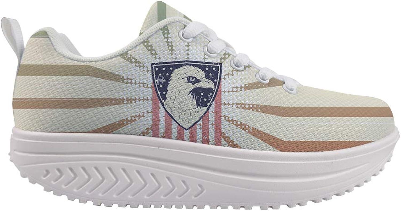 Owaheson Swing Platform Toning Fitness Casual Walking shoes Wedge Sneaker Women American Flag Bald Eagle Seal Badge