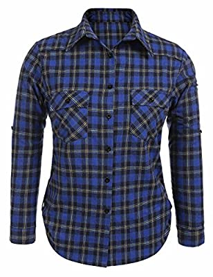 Zeagoo Women Lady Plus Size Autumn Winter Long Sleeve Button Down Flannel Plaid checkered Shirt Tops Shirts Blouses