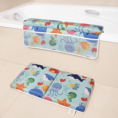 BANBALOO- Alfombrilla reposa rodillas y codos para el baño del bebé. Set de rodillera y codera. Cojin protector para bañera. Organizador de juguetes y accesorios. (MARINO)