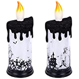Droutti 2 Pieces Halloween Flameless Candles, 9 Inch Battery Operated LED Candle Lights Halloween Scary Zombie Tombstone Decorative Candle for Halloween Party Home Table Window Decor