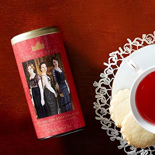 The Republic of Tea Downton Abbey Premium English Rose Tea, 36 Tea Bags, Rose Hibiscus, Caffeine Free