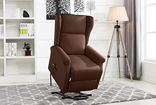 Divano Roma Linen Reclining Armchair Lift Dark Brown