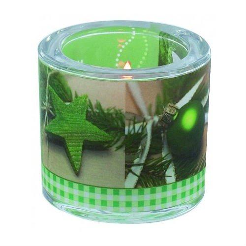 Junker Verlag Glas Windlicht Lichtmomente Weihnachten MerryChristmas Ø 6,5cm H10cm - in Geschenkbox