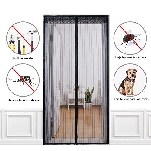 Homvik Mosquitera para Puerta Cortina Magnética Fácil de Instalar Se Cierra Magnéticamente al Instante Buena Ventilación y Deja Los Insectos Afuera 100cm x 210cm - Negro