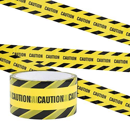 Irich Wasserdicht Warnband Selbstklebend, OPP Warnung Absperrband mit Mutige Schwarze Font für Arbeitsplatz Gefahrenzone (Gelb-Schwarz Geneigte Bar