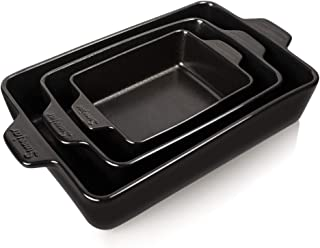 SWEEJAR Ceramic Bakeware Set, Rectangular Baking Dish Lasagna Pans for Cooking, Kitchen, Cake Dinner, Banquet and Daily Use, 11.8 x 7.8 x 2.75 Inches of Baking Pans (Black)