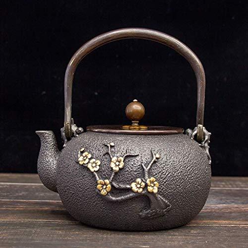 ZXL Japanse theepot van gietijzer, gietijzer, theepot van gietijzer, Japanse theepot van tesubine, 1,3 l | theepot van gietijzer voor het warm houden van de thee | goudkleurig pruimenpatroon gemaakt