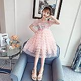 SUNXC Princesa Disfraz Traje Parte Las Niñas Vestido, Melaleuca Vestido de Tarta Princesa Vestido-Rosa_140cm, Niñas Traje Fiesta De Cumpleaños