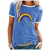 WOBANG Camiseta corta informal para mujer, con cuello redondo, talla grande, para verano, holgada, WO-2025 azul L