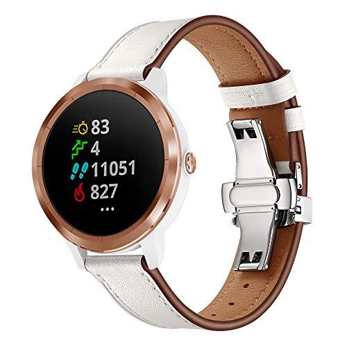 XZZTX Compatibel met voor Garmin Vivomove HR Horloge Band, 20mm Lederen Band Vervangende Polsbanden voor Vivoactive 3 / Vivomove HR/Galaxy Horloge 42mm
