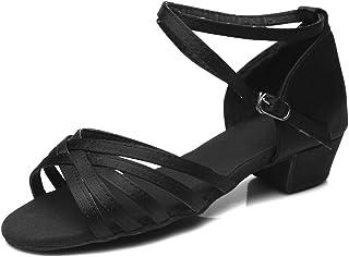 HIPPOSEUS Zapatos de Baile Latino para niñas Zapatos de Baile de Salsa de salón de tacón bajo, Modelo 202