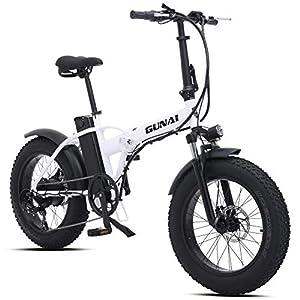 GUNAI 500W Elektrofahrräder,20 Zoll Faltbare Mountain Snow E-Bike Rennrad mit Scheibenbremsen 7 Geschwindigkeit (Weiß)