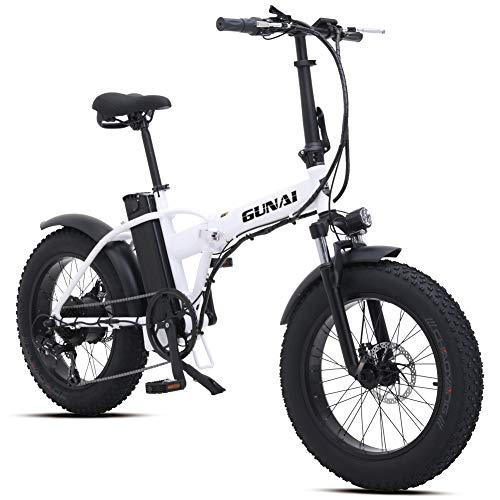 Bici Grassa Elettrica 48V15AH 500W Motore 20 Police Ebike Bici 7 velocità Mountain Bike Pieghevole a Doppia Sospensione Display LCD(Bianco)