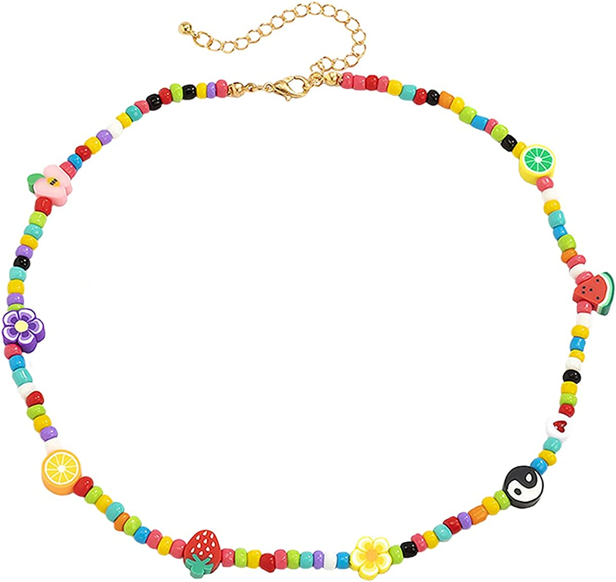 Y2k Aesthetic Indie Jewelry Clay Pearls Beaded Necklaces for Women Teen Girls Gifts DIY