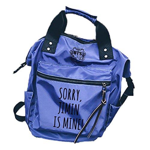 Tomwell Unisex Bangtan Rucksack is Mine Schultasche Bag Reisetasche Notebooktasche Suga Jimin Jin Jung Jook J-Hope Rap-Monster Blau JIMIN Einheitsgröße