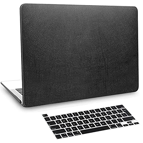 BELK MacBook Pro 13 inch Case 2020-2016 Release with Touch Bar M1 A2338 A2289 A2251 A2159 A1989 A1706 A1708, PU Leather Hard Protective Shell with Keyboard Cover Compatible with Pro 13.3, Black