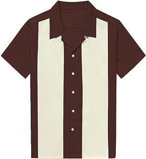 Manga Corta de Verano de los Hombres Camisas L Más el Tamaño de la Ropa de Hombre Blusa Bowling Vintage Camisa