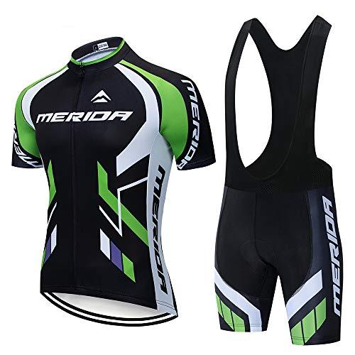 CHHBS Abbigliamento da Ciclismo Estivo da Uomo, Camicie a Maniche Corte + Pantaloncini da Bicicletta, Cuscinetti in Gel MTB per Bici da Corsa